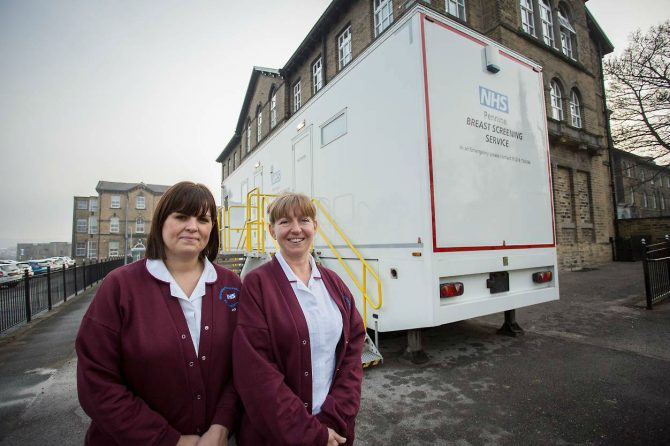 Mobile breast screening unit now based at Dewsbury District Hospital