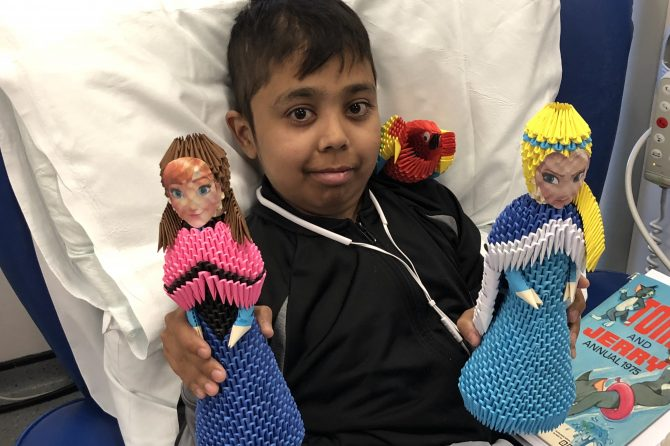 Young kidney dialysis patient uses hospital time to hone origami skills
