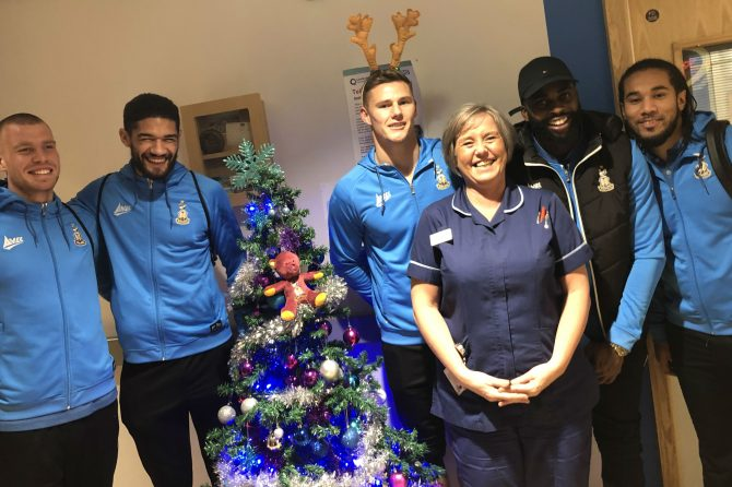 Bradford City football stars spread festive cheer with hospital visits