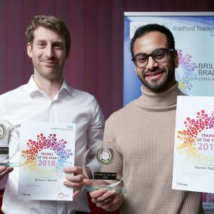 Dr Richard Libertini and Dr Saurav Kataria - joint winners of the Trainee of the Year Award at the 2018 Brilliant Bradford Staff Awards
