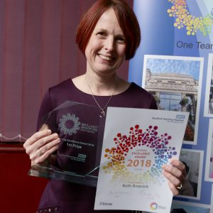Ruth Boocock - winner of the Learning Excellence Award at the 2018 Brilliant Bradford Staff Awards