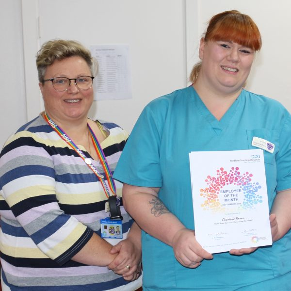 Charlene Brown - Employee of the Month for September 2019 - receives her award from Chief Nurse, Karen Dawber