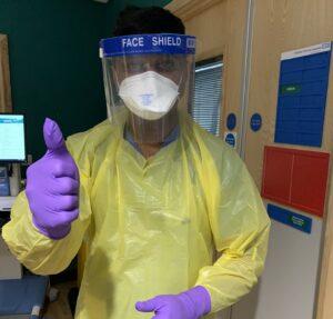 Dr Dinesh Saralaya in full PPE at BRI