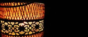 Ramadan picture of a lamp lit in darkness