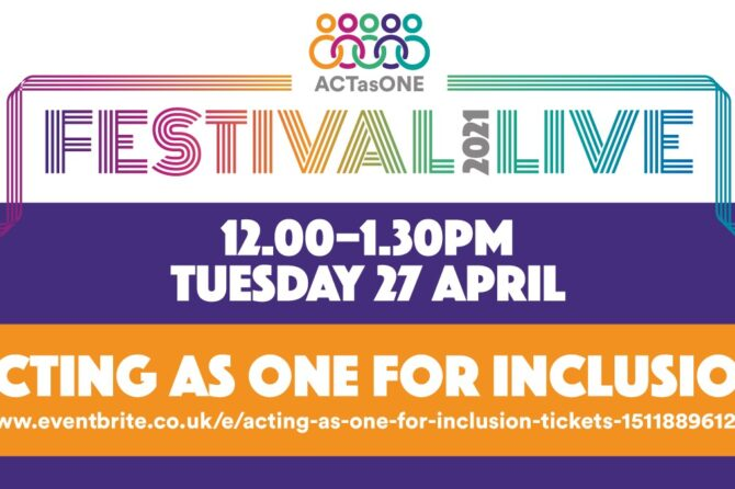 Act as One Festival – first set of events now open for booking!