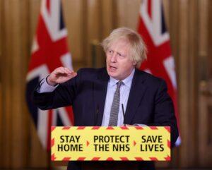 Prime Minister Boris Johnson at a COVID-19 briefing